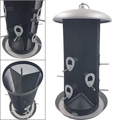 DILUMA XXL Vogelfutter-Station 45 cm aus Metall großer Futterspender für bis zu 5 kg Futter Vogelhaus zum Hängen Vogelfutter-Spender mit 12 Futteröffnungen - perfekt für Wildvogelmischungen