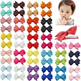 DeD 50 Pcs 2 Inch Tiny Hair Bows for Girl Grosgrain Ribbon Pinwheel Bows Fully Lined Hair Clips for...