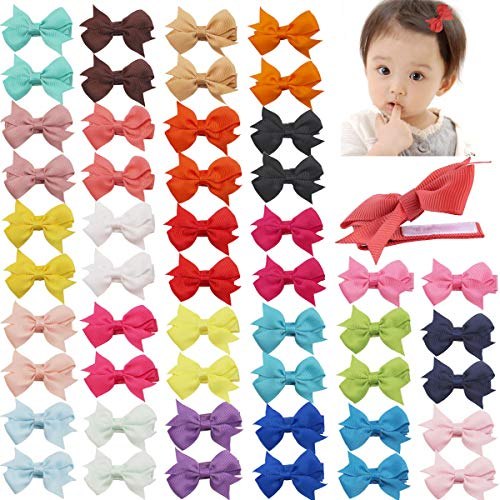 DeD 50 Pcs 2 Inch Tiny Hair Bows for Girl Grosgrain Ribbon Pinwheel Bows Fully Lined Hair Clips for Baby Girls Toddlers Kids In Pairs