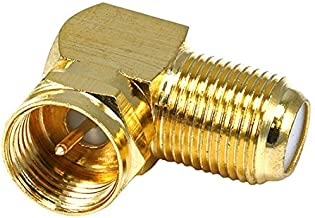 Gold Plated F90 Connector Right Angle Adapter Coaxial Cable Jack Male to Female F-90 Degree Connector Coax Cable Component AV Fitting RF Digital