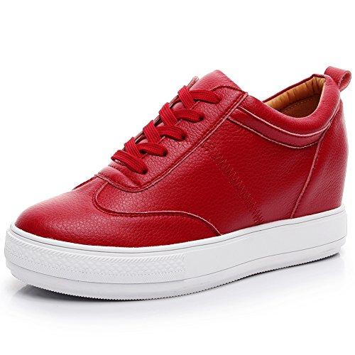 Jamron Mujer Suave Cuero de Imitación Talón de Cuña Oculta Zapatillas Confortable con Cordones Casual Zapatos de Deporte Rojo SN2520 EU38