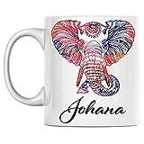 N\A Taza de Elefante Personal con Nombre Johana, Taza de café de cerámica Blanca Impresa en Ambos Lados, cumpleaños para él, Ella, niño, niña, Esposo, Esposa, Hombres y Mujeres