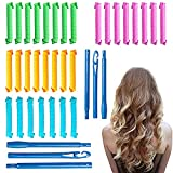 32 Pcs Hair Curlers, Spiral Curls Heatless Hair Curlers Styling Kit with 2 Pieces Styling Hooks for Most Kinds of Hairstyles(Assorted Color,21.7in)