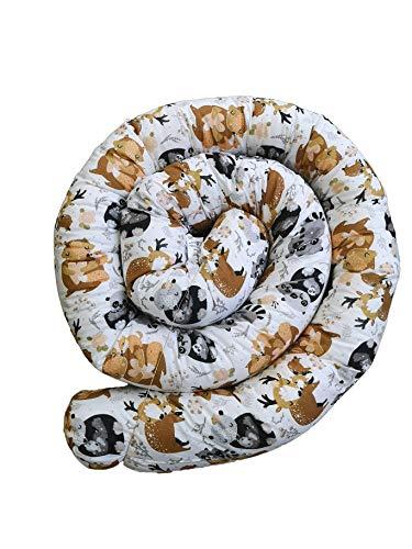 Baby Nestchen Babynestchen Bettschlange Babybett Nestchenschlange Babybett Kissen Bettumrandung (300 cm, Weiß/Love)