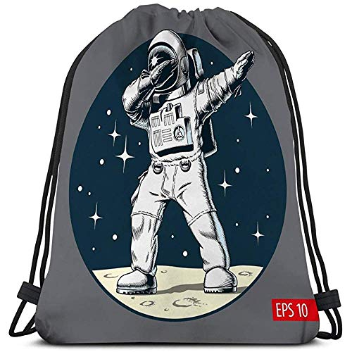 Dingjiakemao Schultasche,Sport Fitness Tasche Kordelzug Rucksack Für Mann Frauen Tupfen Astronauten Mond Astronauten Tupfen Mond Comic-Stil Lustige Figur Wasserzeichen
