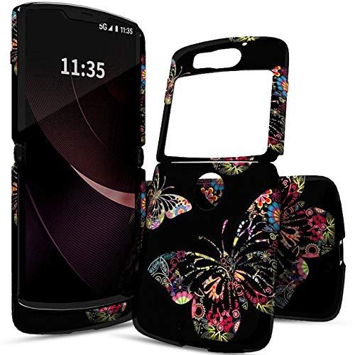 Schutzhülle für Motorola Moto Razr 5G (2-in-1), transparent, dünn, stoßfest, stoßfest, aus Polycarbonat & weichem Silikon, TPU, 2-in-1-Schutzhülle, für Motorola Razr 5G 2020, bunte Schmetterlinge