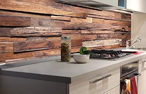 DIMEX LINE Küchenrückwand Folie selbstklebend HOLZWAND | Klebefolie - Dekofolie - Spritzschutz für Küche | Premium QUALITÄT - Made in EU | 180 cm x 60 cm