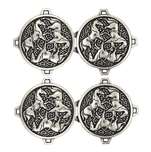 Bezelry 3 Pairs Celtic Horses Cape or Cloak Clasp Fasteners. 62mm x 35mm Fastened. Sew On Hooks and Eyes Cardigan Clip (Antique Silver)