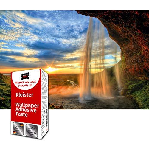 Great Art Photo Wallpaper Waterfall Sunset Decoration 210x140 cm / 82.7x55in – Island Seljalandsfoss Cascade River Magical Landscape Valley Dusk Mural – 5 Pieces Includes Paste