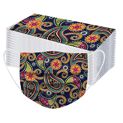 POTTOA 50pcs Paisley Floral Disposable Face_mask. with Designs for Women Girls Adults Colored Paper_Face_mask for Coronɑvịrus Protection Breathable 3 Layers with Nose Wire for Outdoor (50, Yellow)
