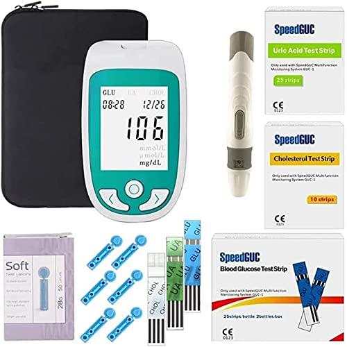 Medidor de glucosa en la sangre, Analizador De 3 En 1 Multifuncional Medidor De Glucosa En Sangre Prueba De Colesterol E Ácido Úrico Diabetes Tester Dispositivo De Gota Con Tira De Prueba Y Lanceta