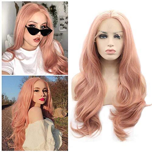 CHUTD Womens Licht Roze Mode Natuurlijke Volledige Lange Grote Golf Krul Kant Voor Pruik, voor Halloween Cosplay Party Fancy Jurk Pruiken