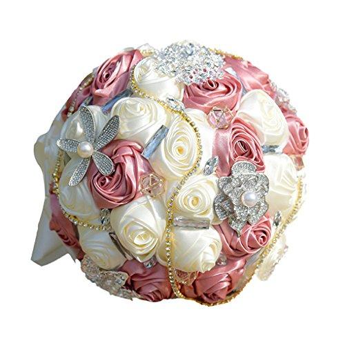 Quibine Bouquet de Mariée Rose Satin ornée Strass Perle
