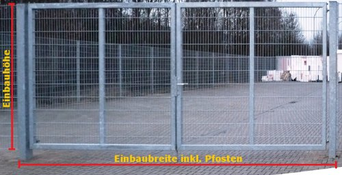 Einfahrtstor 2-Flügelig Verzinkt - Inklusive 2 x 100er-Pfosten / Einbau-Breite: 8m - Einbau-Höhe: 2m - Rahmen: 60 x 30mm / Mattentor Industrietor Gartentor
