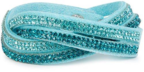 styleBREAKER weiches Strass Armband, eleganter Armschmuck mit Strassteinen, Wickelarmband, 2x2-Reihig, Damen 05040004, Farbe:Türkis/Türkis-Blau