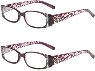 Qi Song Flower Print Shiny Reading Glasses Lady Eyeglasses+1.00+1.25+1.50+1.75+2.00+2.25+2.50+2.75+3.00+3.25+3.50