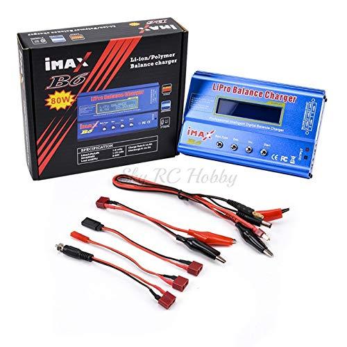SHUGJAN Enchufe de los EEUU/cargador del balance de IMAX B6 80W Digital RC Lipo NiMh/descargador + AC de corriente de 12V 5A / 15V 6A adaptador de la UE Piezas de montaje RC (Color : B6 Charger)
