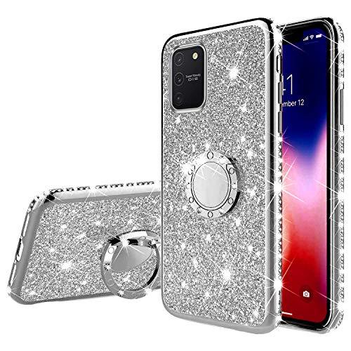 Compatible avec Samsung Galaxy A91 Coque,Galaxy S10 Lite Coque Silicone Brillant Bling Glitter Paillette Strass Housse de Peotection,JAWSEU Ultra Mince Flexible Souple TPU Antichoc Coque,Argent
