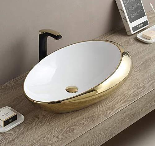 InArt Keramik Waschbecken Arbeitsplatte Waschbecken / Waschbecken für Badezimmer Gästetoilette / Arbeitsplatte Waschbecken Handwaschbecken Eiform 49 x 32 x 14 CM (Weißes Gold)