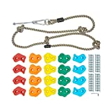 Play N Laughter 20 Assorted Kids Large Climbing Rock Holds with Knotted Rope Kit...