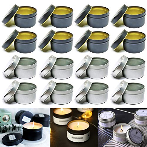 Candle Tin 16Pcs 4Oz Candle Containers for DIY Candle Making Candle Tin Jars Round Shape Candle Metal Tin Storage Box Candle Holders for Candle Making, Arts & Crafts, Nursery Pot, Storage & More