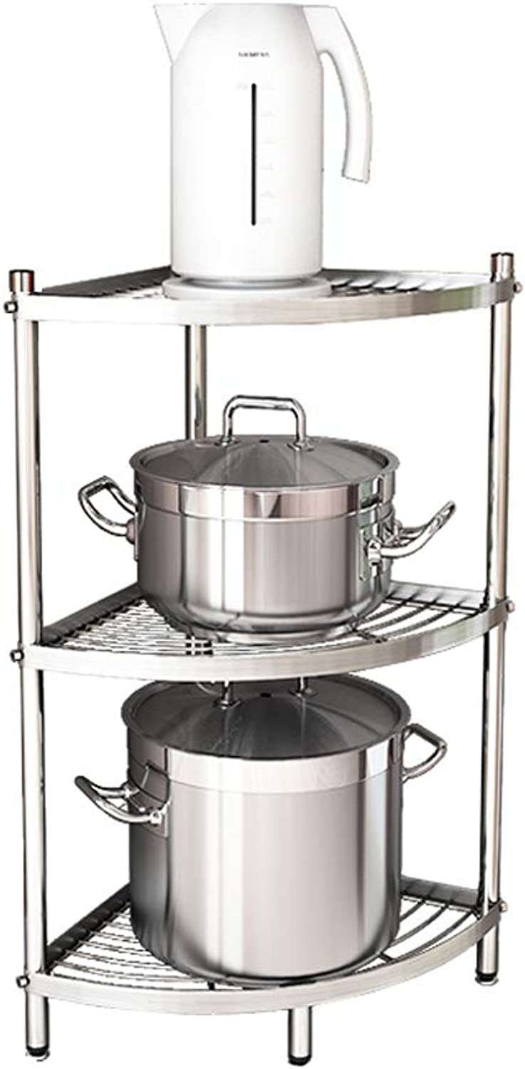 Kitchen Shelf 304 Stainless Steel Corner Storage Rack Multi-Layer (color   A)