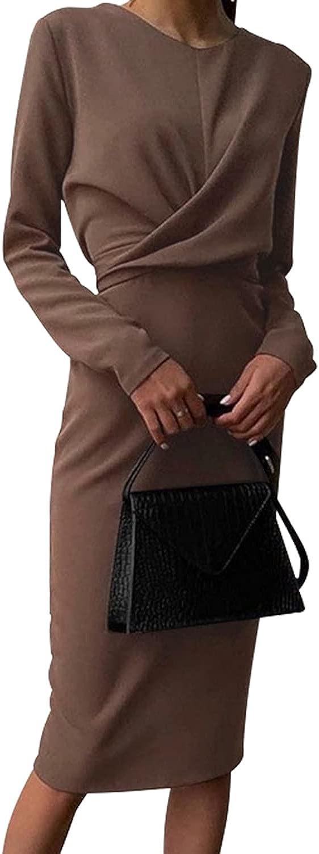 Naphy Women's Elegant Classic Formal Wrap Elegant Pencil Midi Dress