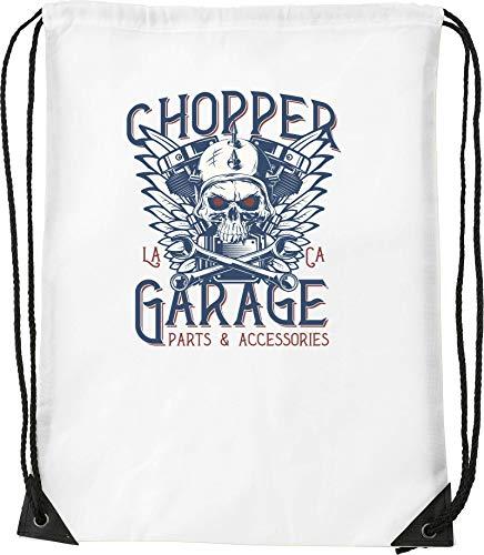 Chopper Garage Biker Skull Kordelzug Sack Sack Wanderhalle