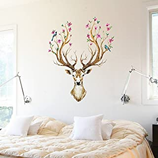 Plum Flower Deer Wall Sticker Wall Decorations Living Room Autocollant Mural Muurstickers Home Decor
