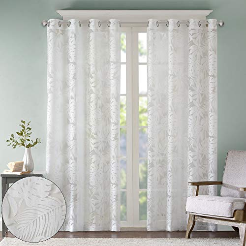 Madison Park Botanical Sheer Curtains for Bedroom, Modern Contemporary Linen Grommet Living Room, Nature Summer Fashion Panel, 50x95, Tropical White