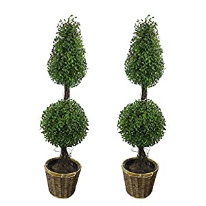 Admired By Nature 3' Artificial Boxwood Leave Double Ball Shaped Topiary Plant Tree in Basket, Green/Two-Tone Set of 2, C.ABNT001B-NTRL-2, 2 Count