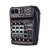 Muslady Mischpult AI-4 Kompakt Soundkarte Digital Audio Mixer 4-Kanal BT MP3 USB-Eingang +