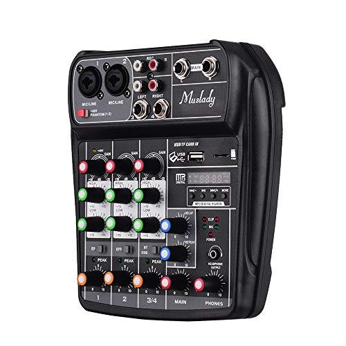 Muslady Console Mixer 4 canali Scheda Audio Mixing Digitale Audio Compatto BT Ingresso USB MP3 + Phantom Power 48V per la Registrazione Musicale DJ Network Trasmissione in Diretta Karaoke AI-4