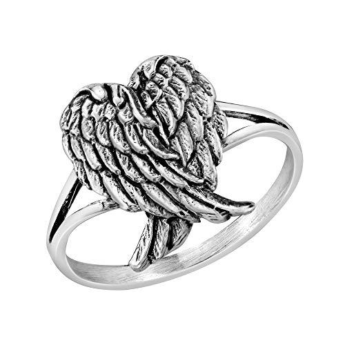 AeraVida Heavenly Love Folded Angel Wings .925 Sterling Silver Ring (9)