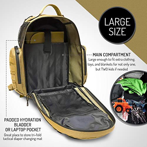 HSD Dad Diaper Bag Backpack, with Changing Mat, Baby Wipes Pocket, Insulated Side Bottle Holders, Stroller Straps, Multifunctional, Large Capacity, Waterproof