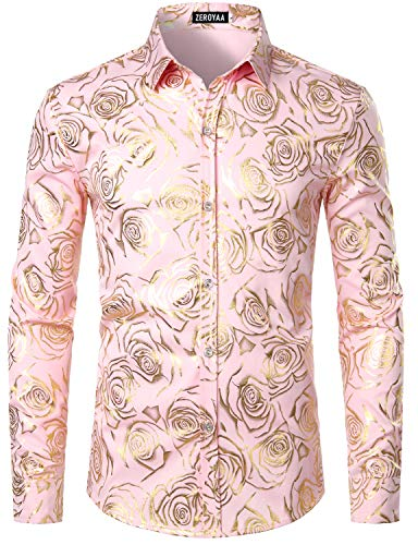 ZEROYAA Men's Nightclub Rose Gold Shiny Flowered Printed Slim Fit Button Down Dress Shirts for Party ZZCL18 Pink Large