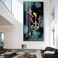 ゴールデンフィッシュキャンバスプリントウォールアート写真ポスターとプリントアートペインティングフィッシュアニマルホームキャンバスデコレーション20x40cm木枠付きの完成品