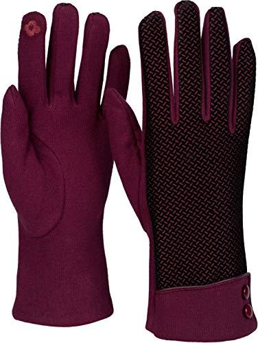 styleBREAKER Damen Touchscreen Handschuhe mit Riffel Muster und Fleece Futter, warme Thermo Fingerhandschuhe, Winter 09010029, Farbe:Bordeaux-Rot