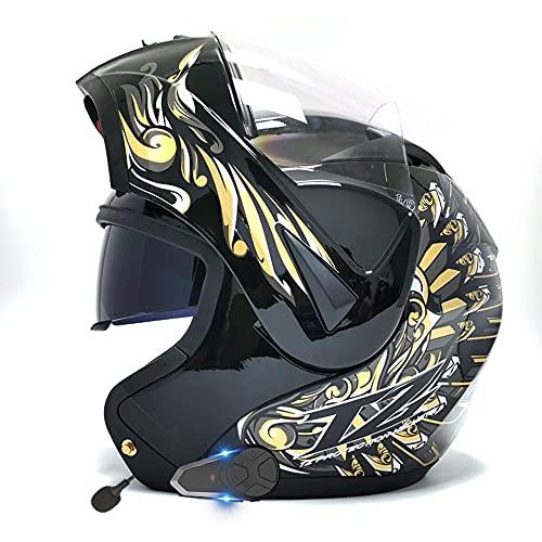 Casco De Moto Modular Bluetooth Integrado Casco Anticolisión con Doble Anti Niebla Visera Cascos de Motocicleta ECE Homologado a Prueba de Viento para Adultos Hombres Mujeres 55-62