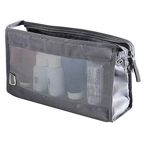HUIJU Maquillage Pouch Voyage Wash Bag Hommes et Femmes Étanche Transparent Portable Voyage Lavage Sac Maille Cosmétique Sac, Grey