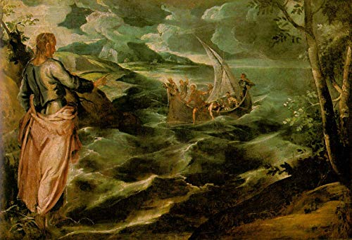 """Jacopo Tintoretto Christ on The Sea of Galilee 1580 National Gallery of Art - Washington DC 30"""" x 21"""" Fine Art Giclee Canvas Print (Unframed) Reproduction"""