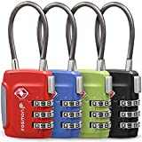 Fosmon TSA Approved Cable Luggage Locks (4 Pack), 3 Digit Combination Padlock...