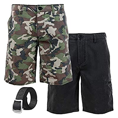 August+Peel Hike and Carry Men's Hybrid Hiking Shorts w/Web Tactical Belt Bundle Two Shorts Pack