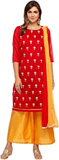 Kashish by Shoppers Stop Womens Round Neck Embroidered Palazzo Suit_Red
