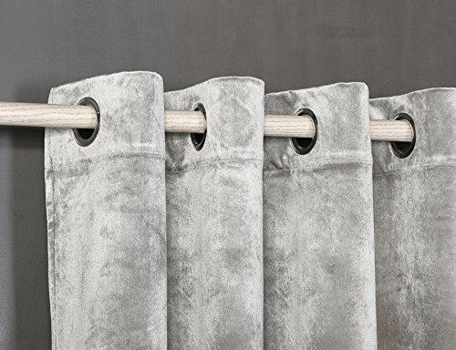 PimpamTex Cortina Terciopelo Opaca térmica Aislante para salón Dormitorio y habitación, con 8 Ojales, 1 Unidad 140 x 260 cm, Modelo Terciopelo Color Gris Perla