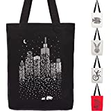 Miller & Max Canvas Tote Bag - Reusable Multi-functional 100% Cotton City Cute Print Durable Design With Inner Pocket, Black 12 oz Canvas Bags - For School, Office, Picnic And Travel (Natural) 2021 New