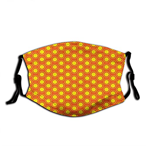 Hand Drawn Doodle Style Round Abstract Sun Motifs Sunny Hot Summer,Reusable Washable Bandanas Adjustable Fashion Scarves For Adult With 2 Pcs Filters
