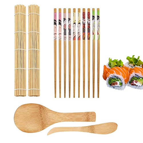 Kit de 9 piezas para hacer sushi, incluye 5 pares de palillos, 2 alfombrillas para sushi, 1 pala de arroz, 1 esparcidor de arroz, DIY hacer tu propio sushi en casa