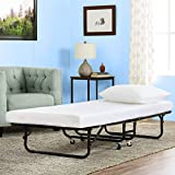 Folding Bed with Mattress Twin Guest Bed Portable Camping Cot Heavy Duty Metal Foldaway Extra Rollaway Bed for Adults Kids,Black/White
