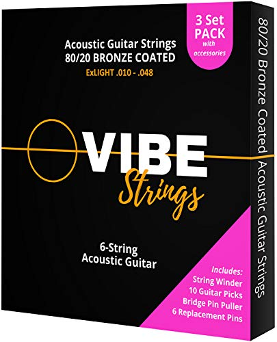Vibe Strings Corde Chitarra Acustica 010-048 ExLight, Bronzo 80/20 con rivestimento, Confezione da 3 con accessori
